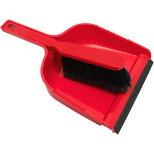 Purely Smile Dustpan & Brush Plastic Red