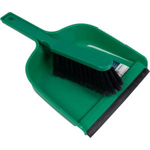 Purely Smile Dustpan & Brush Plastic Green