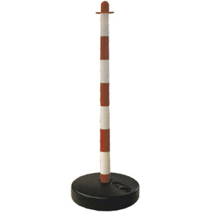 Temporary Barrier Post with base in red/white stripes