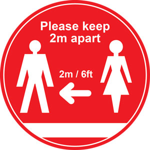 Red Social Distancing Floor Graphic - Please Keep 2m/6ft Apart (400mm dia.)
