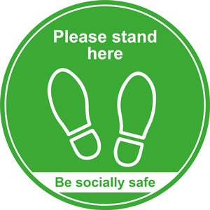 Green Social Distancing Floor Graphic - Please Stand Here (400mm dia.)