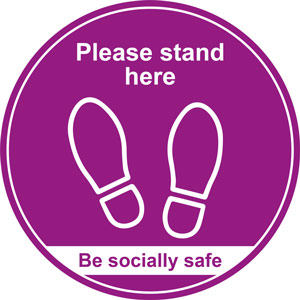 purple social distancing floor graphic - please stand here (400mm dia.)