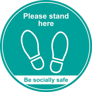 turquoise social distancing floor graphic - please stand here (400mm dia.)
