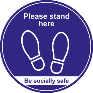 Blue Social Distancing Floor Graphic - Please Stand Here (400mm dia.)