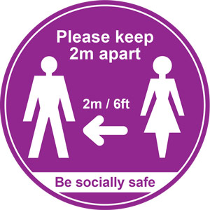 Purple Social Distancing Floor Graphic - Please Keep 2m/6ft Apart (400mm dia.)
