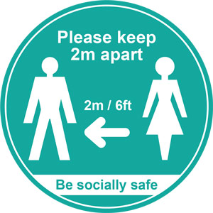 turquoise social distancing floor graphic - please keep 2m/6ft apart (400mm dia.)