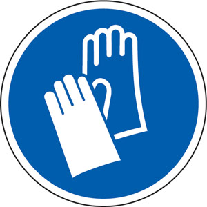 Blue Social Distancing Floor Graphic - Wear Gloves (400mm dia.)