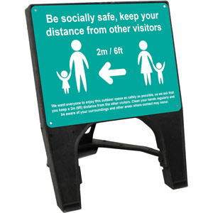 turquoise social distancing q sign - be socially safe (600 x 450mm)