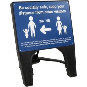 blue social distancing q sign - be socially safe (600 x 450mm)