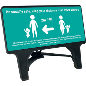 turquoise social distancing q sign - be socially safe (1050 x 450mm)