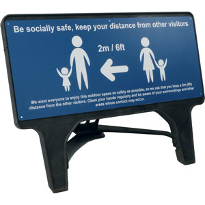 Blue Social Distancing Q Sign - Be Socially Safe (1050 x 450mm)