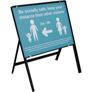 turquoise social distancing temporary sign - be socially safe (600 x 450mm)