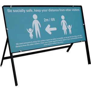 turquoise social distancing temporary sign - be socially safe (1050 x 450mm)
