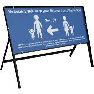 blue social distancing temporary sign - be socially safe (1050 x 450mm)