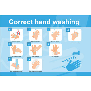 Hand Hygiene Rigid PVC Sign - Correct Hand Washing (600mm x 400mm)