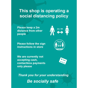 Social Distancing Window Cling Vinyl - This Shop Is Operating A Social Distancing Policy A (300mm x 400mm)