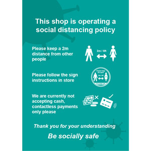 Social Distancing Rigid PVC Sign - This Shop Is Operating A Social Distancing Policy C (210mm x 297mm)