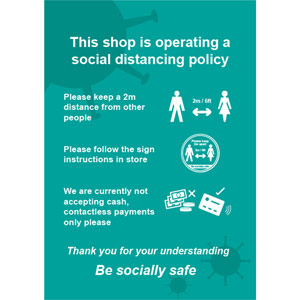 Social Distancing Rigid PVC Sign - This Shop Is Operating A Social Distancing Policy C (148mm x 210mm)