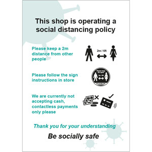 Social Distancing Rigid PVC Sign - This Shop Is Operating A Social Distancing Policy D (148mm x 210mm)