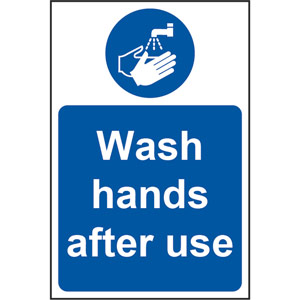 Mandatory Rigid PVC Sign (200 x 300mm) - Wash Hands After Use
