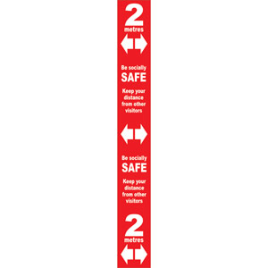 Red Social Distancing Self Adhesive Semi Rigid PVC Floor Distance Marker (800 x 100mm)