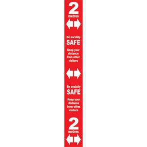 red social distancing self adhesive semi rigid pvc floor distance marker (800 x 100mm)