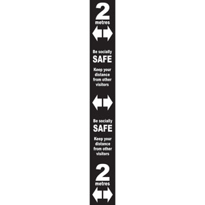 Black Social Distancing Self Adhesive Semi Rigid PVC Floor Distance Marker (800 x 100mm)