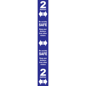 Blue Social Distancing Self Adhesive Semi Rigid PVC Floor Distance Marker (800 x 100mm)
