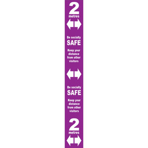 purple social distancing self adhesive semi rigid pvc floor distance marker (800 x 100mm)