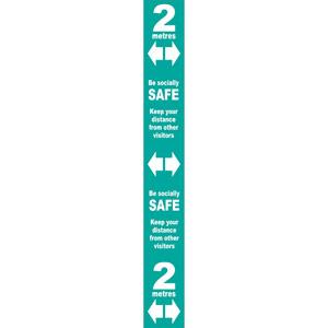 turquoise social distancing self adhesive semi rigid pvc floor distance marker (800 x 100mm)