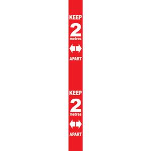 Red Social Distancing Self Adhesive Semi Rigid PVC Wall Distance Marker (800 x 75mm)
