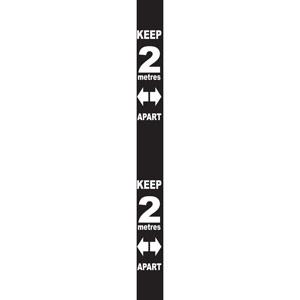 Black Social Distancing Self Adhesive Semi Rigid PVC Wall Distance Marker (800 x 75mm)