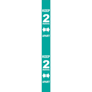 Turquoise Social Distancing Self Adhesive Semi Rigid PVC Wall Distance Marker (800 x 75mm)