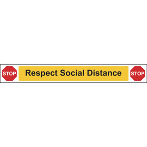 social distancing wall and floor graphic self adhesive vinyl (800 x 100mm) - stop respect social distancing