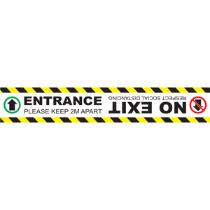 social distancing floor graphic self adhesive vinyl (600 x 100mm) = entrance only no exit