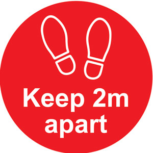 red social distancing self adhesive floor distance marker (200mm dia.)