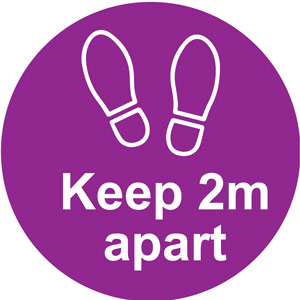 Purple Social Distancing Self Adhesive Floor Distance Marker (200mm dia.)
