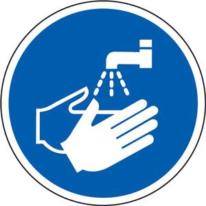 blue social distancing floor graphic - wash hands (200mm dia.)