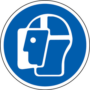 Blue Social Distancing Floor Graphic - Wear Face Shield (200mm dia.)