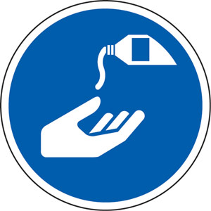 Blue Social Distancing Floor Graphic - Use Hand Sanitiser (200mm dia.)