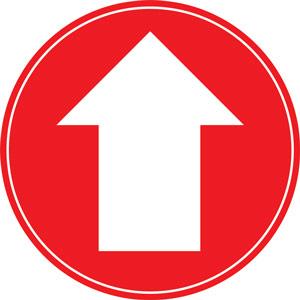 red social distancing floor graphic - arrow (200mm dia.)