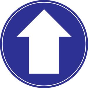 blue social distancing floor graphic - arrow (200mm dia.)