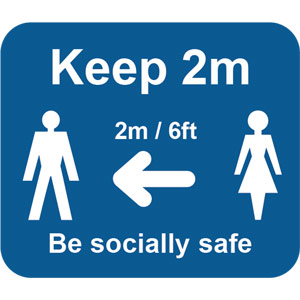Blue Social Distancing Self Adhesive Sign - Keep 2m/6ft (190 x 166mm) 2pk