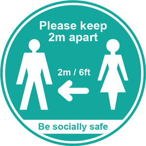 turquoise social distancing self adhesive sign - please keep 2m/6ft apart (190 dia.) 5pk