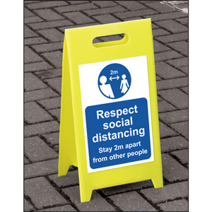 Lightweight and sturdy Correx A-Board (Blue) - Respect Social Distancing