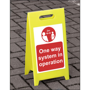 lightweight and sturdy correx a-board (red) - one way system in operation