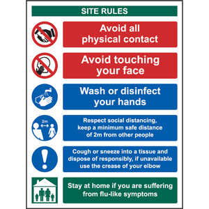 Social Distancing Rigid PVC Sign (300 x 400mm) - Covid19 Social Distancing & Hygiene Safety Notice