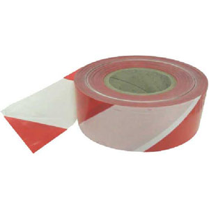 Non-adhesive polythene barrier tape Red/White 75mm x 500m