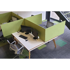 Acoustic High Desktop 3-Sided Screens - 1600mm Wide - Apple Green