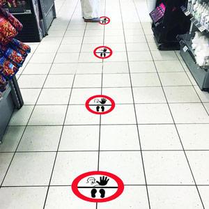 Social Distance Marker - Stop Symbols - 235mm